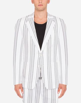 Dolce & Gabbana Striped Jacket In Stretch Cotton