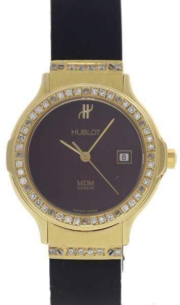 Hublot MDM Depose 1391.3 18K Yellow Gold / Rubber 28mm Womens Watch