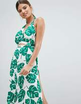 boohoo Cut Out Leaf Print Beach Dress
