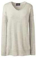 Lands' End Women's Petite Merino V-neck Tunic Sweater-Rich Sapphire