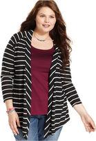 American Rag Plus Size Sweater, Three-Quarter-Sleeve Striped Cardigan