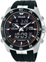 Pulsar Mens Analog/Digital Black Silicone Strap Chronograph Watch PW6009