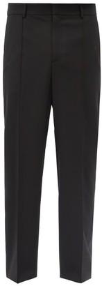 Valentino Logo-print Side-stripe Straight-leg Trousers - Black