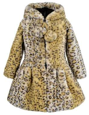 American Widgeons Little Girl's & Girl's Leopard Print Faux Fur Pom-Pom Coat