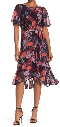 Gabby Skye Flutter Sleeve Floral Chiffon Dress