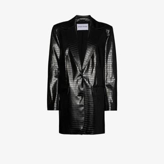 Stand Studio Juniper mock croc faux leather blazer
