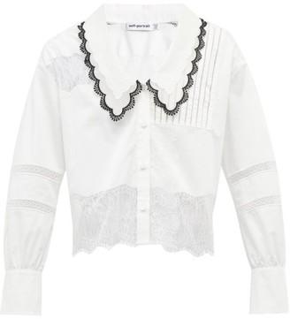 Self-Portrait Chelsea-collar Lace-insert Poplin Shirt - White
