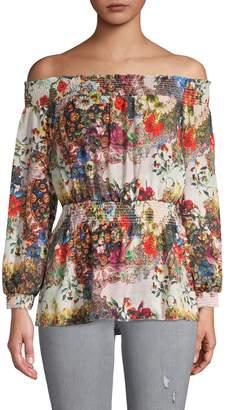 Nicole Miller Floral-Print Off-The-Shoulder Top