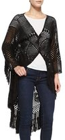Spell Designs Mandala High-Low Crochet Fringe Coat, Black
