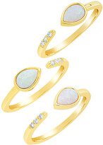 Thumbnail for your product : Sterling Forever 14K Over Silver Cz Set Of 3 Rings