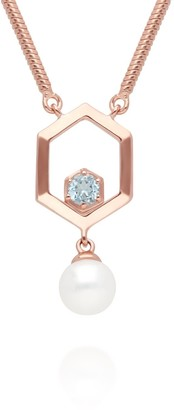 Gemondo Modern Pearl & Topaz Hexagon Drop Necklace In Rose Gold Plated Sterling Silver