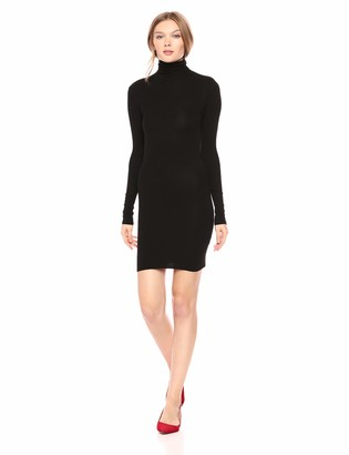 Enza Costa Women's Stretch Silk Rib Long Sleeve Turtleneck Mini Dress