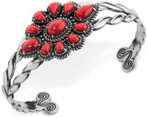 American West Coral Flower Cluster Openwork Cuff Bracelet (8-5/8 ct. t.w.) in Sterling Silver