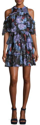 Alice + Olivia Nichola Cold-Shoulder Floral-Print Ruffled Party Dress