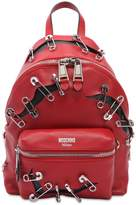 Moschino Leather Backpack W/ Safety Pins