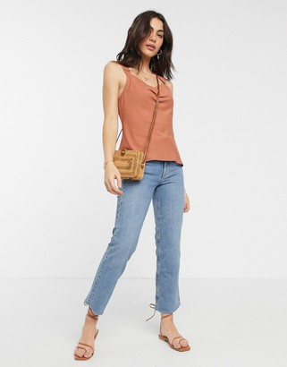 ASOS DESIGN sleeveless top with cowl neck in Rust-No Color