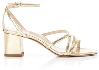 Marion Parke Bianca Gold | Strappy Leather Block Heel Ankle Tie Sandal