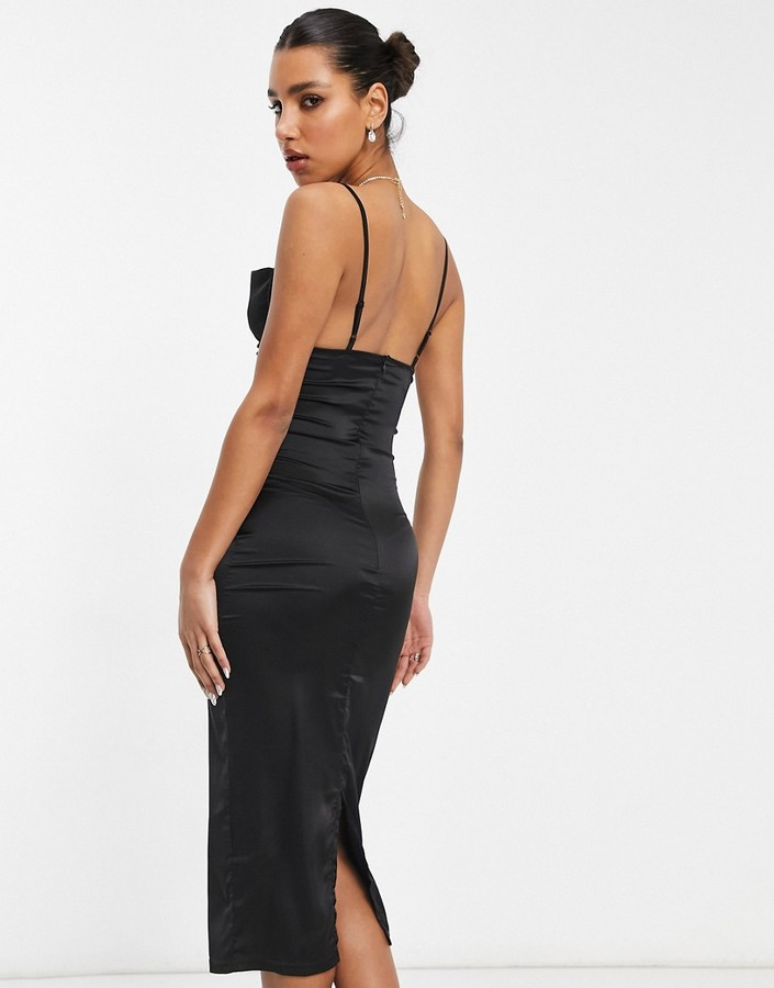 Thumbnail for your product : Parisian satin cami strap midi dress with cowl neck in black