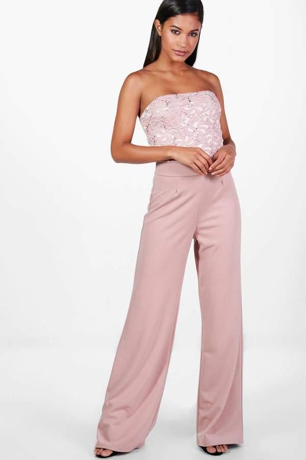 boohoo Gemma Boutique Wide Leg Sequin Jumpsuits rose
