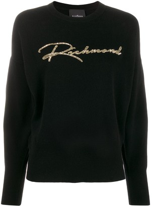 John Richmond sequin-embellished knitted jumper