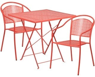 """Lancaster Home 28"""" Square Coral Indoor-Outdoor Steel Folding Patio Table Set with 2 Chairs"""