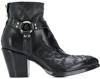 Rocco P. Embroidered Ankle Boots