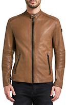 HUGO BOSS BOSS Orange Jeeper Slim Fit Leather Jacket, Open Brown