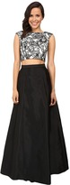 Aidan Mattox Two-Piece Embroidered Cap Sleeve Top w/ A-Line Taffetta Skirt