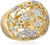 Chamak by Priya Kakkar Sterling Silver and Cubic Zirconia Gold-Tone Cutout Star Ring, Size 7