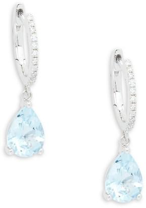 Effy 14K White Gold, Aquamarine & Diamond Drop Earrings
