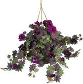 Asstd National Brand Nearly Natural Morning Glory Hanging Basket Silk Plant
