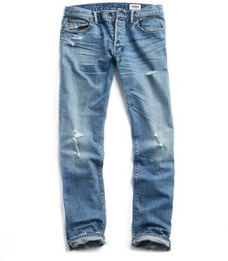 Todd Snyder Slim Fit Japanese Stretch Selvedge Jean in Destroyed Wash