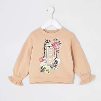 River Island Mini girls beige flute sleeve sweatshirt