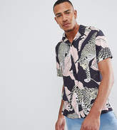 Asos DESIGN Tall oversized tiger print Shirt with revere collar