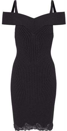 Alexander Wang Cold-Shoulder Lace-Trimmed Ribbed Wool-Blend Mini Dress