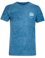 Burton Mens Teal Acid Wash Chest and Back Print T-Shirt