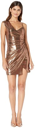 BCBGMAXAZRIA Metallic One Shoulder Shirred Dress (Rose Gold) Women's Dress
