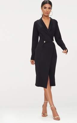 PrettyLittleThing Black Button Detail Blazer Midi Dress