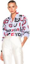 Maison Margiela Striped Cotton Letter Print Shirt
