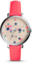 Fossil Jacqueline Three-Hand Neon Coral Leather Strap