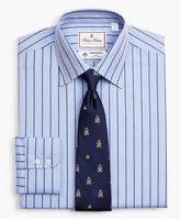 Brooks Brothers Luxury Collection Milano Slim-Fit Dress Shirt, Franklin Spread Collar Herringbone Stripe