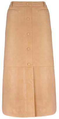 Mint Velvet Camel Leather Midi Skirt