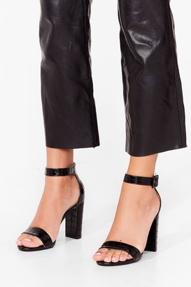 Nasty Gal Womens Croc to Go Faux Leather Block Heels - Black - 3