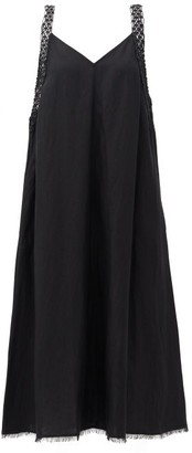 Solid & Striped The Celia Macrame-strap Jersey Midi Dress - Black