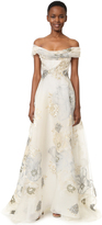Marchesa Off Shoulder A-Line Gown