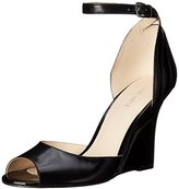 Nine West Women's Benice Leather Peep Toe Wedge, Light Grey/Light Grey, 8 M US