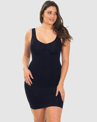 B Free Intimate Apparel - Women's Black Lingerie Accessories - Curvy Ultra Light Shaping V-Tank Slip - Size One Size, S/M at The Iconic