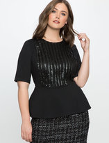 ELOQUII Plus Size Faux Leather Embellished Peplum Top