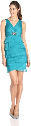 London Times Women's Sleeveless V-Neck Artichoke Shutter Sheath Dress