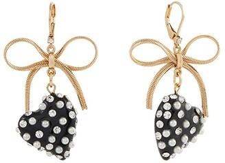 Betsey Johnson Heart and Bow Earrings (Black) Earring